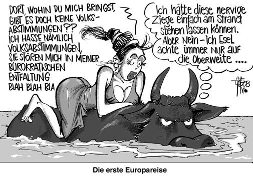 Karikatur die erste europareise